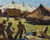 circus in (town) maine, men setting up circus tents by ernest townsend