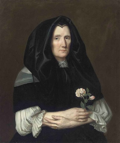 portrait of a lady in a black mantle, with roses in her right hand by philippe de champaigne