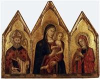 madonna con il bambino, santo vescovo e santa maria maddalena by pietro lorenzetti