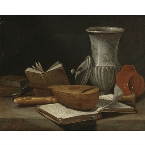 still life with a lute a recorder books a marble covered vase and other objects resting on a table by cristoforo munari