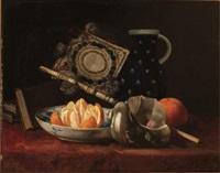 coupe de mandarines, livres et pichet by p. simonet