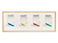 series of 4 color etchings by lawrence weiner