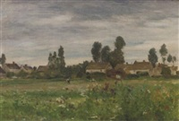 view of a village, france by walter griffin
