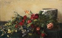 fleurs et vase sur un entablement by victor fontaine