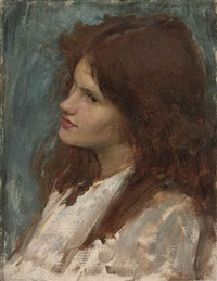 head of a girl by john william waterhouse