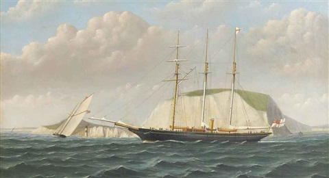 a steam yacht and a racing schooner off the needles by wl iddes