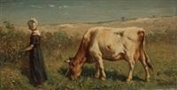 bergère et sa vache by johannes hubertus leonardus de haas