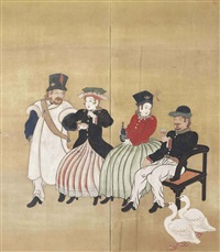 the general of the east india company and companions screen by anonymous-japanese (edo period)