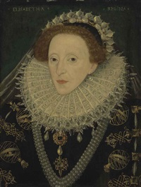 portrait of queen elizabeth i (1533-1603), half-length, in a black gold embroidered and bejewelled dress with armillary spheres, a lace ruff... by british school (16)