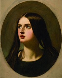 portrait of a woman, in a painted oval by william edward frost