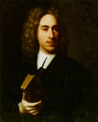 a portrait of a magistrat, aged 52, wearing black costume and holding a book by christoffel lubieniecki