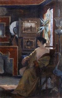 femme dans un intérieur by jean-joseph enders