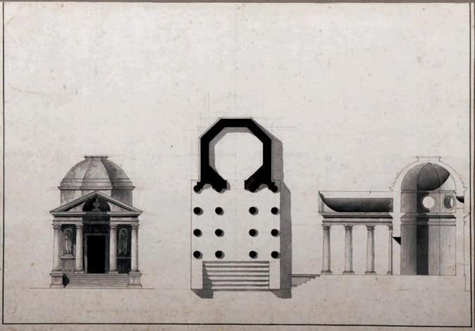 projet dun temple octogonal élévation plan et coupe by giacomo quarenghi