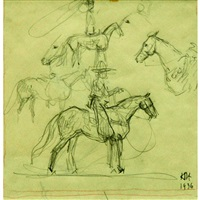 mounted cowboy studies by herbert haseltine