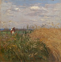 peasant women in a field by mikhail markelovich guzhavin