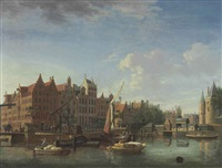 the gelderse kade, the haan and sleutels brewery, and the waag, amsterdam by jan ten compe
