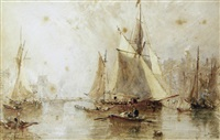 harbour scene (pair) by george weatherill