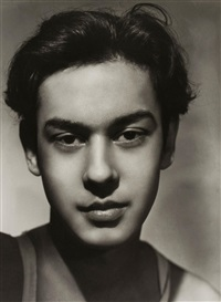 studio portrait of omar ali choudray by angus mcbean