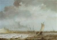 segelschiffe vor der küste auf bewegter see by julius porcellis