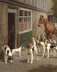 before the hunt - foxhounds and a jack russell terrier with a saddled hunter outside a stable by alfred duke