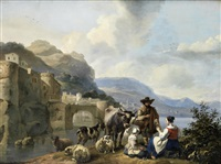 an italianate landscape with a shepherd and his flock on the banks of a river, a walled town in the distance by hendrick mommers