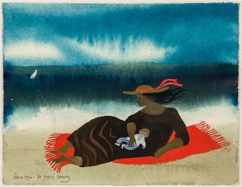 mother and child on the beach by mary fedden