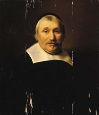 portrait of a parson wearing black costume with lace collar and black cap by abraham de vries