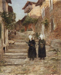 breton women on a village street by guillaume alaux