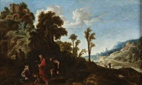 escena bíblica en paisaje by david teniers the elder