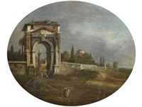a capriccio of a walled city with an arch by francesco guardi