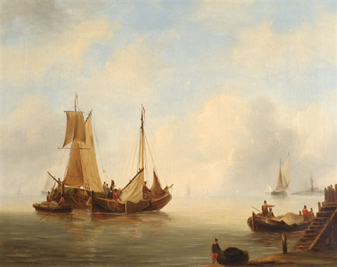 ships in calm waters ships on a stormy sea 2 works by govert van emmerik