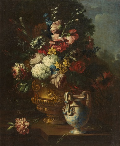 floral still life with view of a landscape by gaspar pieter verbruggen the younger