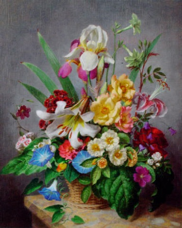 an arrangement of flowers displayed on a marble ledge by john e nicholls