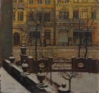dresdener stadtansicht im winter by max adolf peter frey