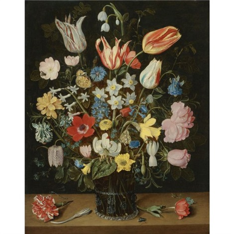still life of roses tulips a white lily poppy anemones narcissi carnations columbine hyacinth snowdrop cyclamen fritillary cornflower lily of the valley crocus forget me not by isaac soreau