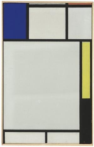 composition avec bleu rouge jaune et noir by piet mondrian