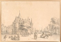 view of the nieuwmarkt square by reinier vinkeles