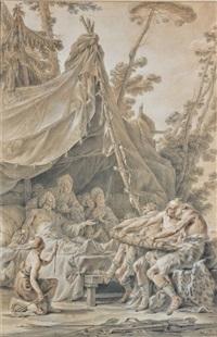 scilurus, roi des scythes, faisant rassembler ses enfants by noel halle