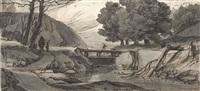 paysage fluvial animé de personnages by roelant roghman