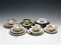 cup and saucer trios (+ plates; set of 10) by bavaria