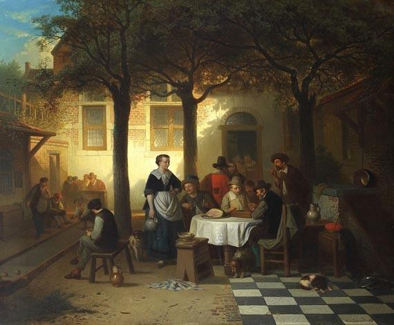 gasthausszene in einem innenhof mit boule und tric trac spielern by adrien ferdinand de braekeleer
