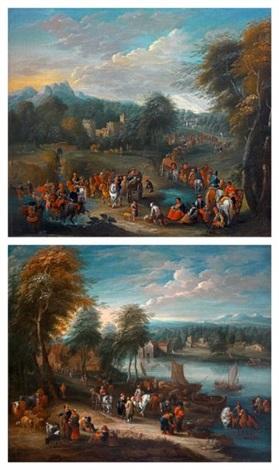 paysages avec nombreux personnages près de rivières pair by mathys schoevaerdts