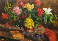 still life with flowers, books and coffee cup by lidia agricola weifl