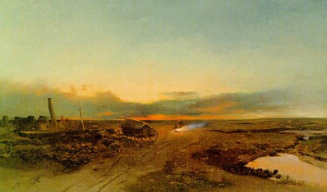 zigeuner bei lagerfeuer in der puzsta im abendlicht by johann gualbert raffalt