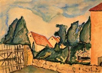 houses in landscape by avraham melnikov