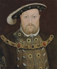 portrait of king henry viii (1491-1547), bust-length, in a fur-lined cloak and gold-brocade doublet, with a chain and feathered black hat by british school (16)