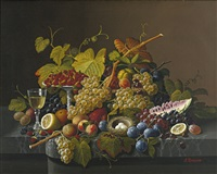 still life with fruit and bird's nest by severin roesen