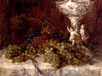grapes by an ornamental bowl on a draped table by flora g. udvardy
