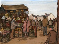 greengrocers stall, market day by gladys maccabe