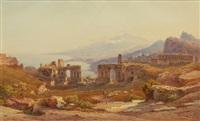 vy över neapelbukten med ruiner och herdar by hermann david salomon corrodi